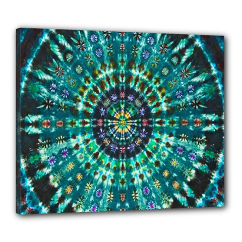 Peacock Throne Flower Green Tie Dye Kaleidoscope Opaque Color Canvas 24  X 20  by Mariart