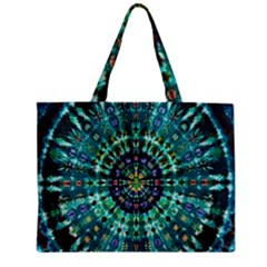 Peacock Throne Flower Green Tie Dye Kaleidoscope Opaque Color Zipper Mini Tote Bag by Mariart