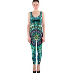 Peacock Throne Flower Green Tie Dye Kaleidoscope Opaque Color Onepiece Catsuit by Mariart