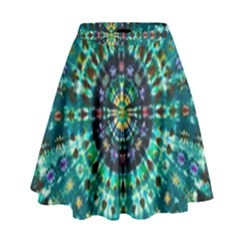 Peacock Throne Flower Green Tie Dye Kaleidoscope Opaque Color High Waist Skirt by Mariart