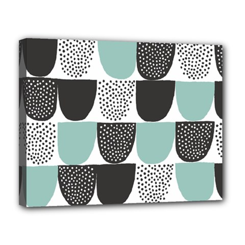 Sugar Blue Fabric Polka Dots Circle Canvas 14  X 11  by Mariart