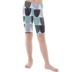 Sugar Blue Fabric Polka Dots Circle Kids  Mid Length Swim Shorts by Mariart