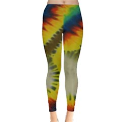 Red Blue Yellow Green Medium Rainbow Tie Dye Kaleidoscope Opaque Color Leggings  by Mariart