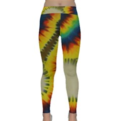 Red Blue Yellow Green Medium Rainbow Tie Dye Kaleidoscope Opaque Color Classic Yoga Leggings by Mariart
