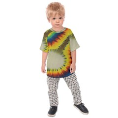 Red Blue Yellow Green Medium Rainbow Tie Dye Kaleidoscope Opaque Color Kids Raglan Tee by Mariart