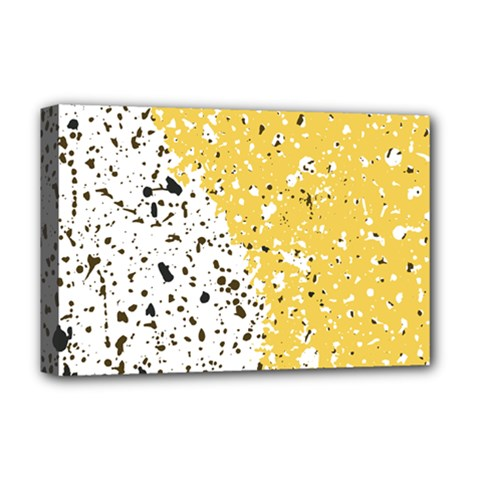 Spot Polka Dots Orange Black Deluxe Canvas 18  X 12   by Mariart