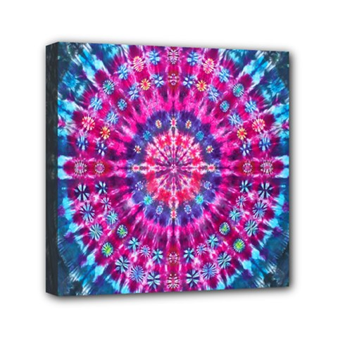 Red Blue Tie Dye Kaleidoscope Opaque Color Circle Mini Canvas 6  X 6  by Mariart