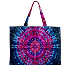 Red Blue Tie Dye Kaleidoscope Opaque Color Circle Zipper Mini Tote Bag by Mariart