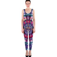 Red Purple Tie Dye Kaleidoscope Opaque Color Onepiece Catsuit by Mariart