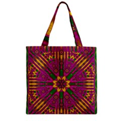 Feather Stars Mandala Pop Art Zipper Grocery Tote Bag by pepitasart