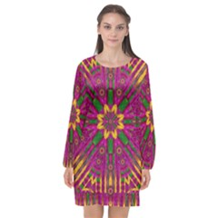 Feather Stars Mandala Pop Art Long Sleeve Chiffon Shift Dress  by pepitasart