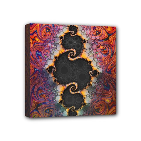 The Eye Of Julia, A Rainbow Fractal Paint Swirl Mini Canvas 4  X 4  by beautifulfractals