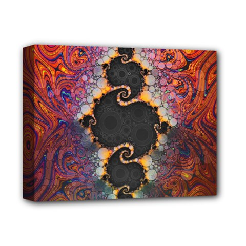 The Eye Of Julia, A Rainbow Fractal Paint Swirl Deluxe Canvas 14  X 11  by beautifulfractals