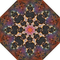 The Eye Of Julia, A Rainbow Fractal Paint Swirl Hook Handle Umbrellas (medium) by jayaprime
