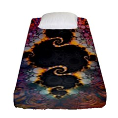 The Eye Of Julia, A Rainbow Fractal Paint Swirl Fitted Sheet (single Size) by jayaprime