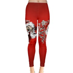 Funny Santa Claus  On Red Background Leggings  by FantasyWorld7