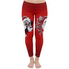 Funny Santa Claus  On Red Background Classic Winter Leggings by FantasyWorld7