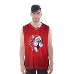 Funny Santa Claus  On Red Background Men s Basketball Tank Top by FantasyWorld7