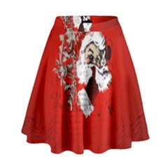 Funny Santa Claus  On Red Background High Waist Skirt by FantasyWorld7