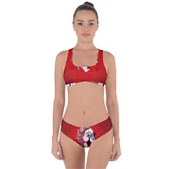 Funny Santa Claus  On Red Background Criss Cross Bikini Set