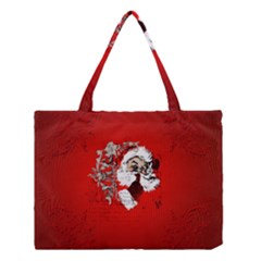 Funny Santa Claus  On Red Background Medium Tote Bag by FantasyWorld7