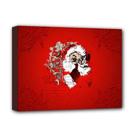 Funny Santa Claus  On Red Background Deluxe Canvas 16  X 12   by FantasyWorld7