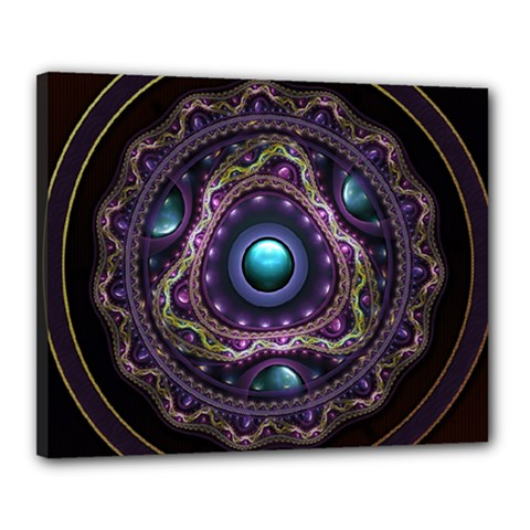 Beautiful Turquoise And Amethyst Fractal Jewelry Canvas 20  X 16  by jayaprime