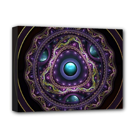 Beautiful Turquoise And Amethyst Fractal Jewelry Deluxe Canvas 16  X 12   by jayaprime