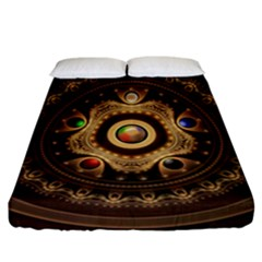 Gathering The Five Fractal Colors Of Magic Fitted Sheet (california King Size) by beautifulfractals