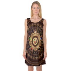 Gathering The Five Fractal Colors Of Magic Sleeveless Satin Nightdress