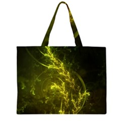 Beautiful Emerald Fairy Ferns In A Fractal Forest Zipper Large Tote Bag by jayaprime