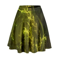 Beautiful Emerald Fairy Ferns In A Fractal Forest High Waist Skirt by jayaprime