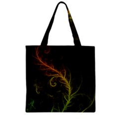 Fractal Hybrid Of Guzmania Tuti Fruitti And Ferns Zipper Grocery Tote Bag by jayaprime