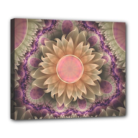 Pastel Pearl Lotus Garden Of Fractal Dahlia Flowers Deluxe Canvas 24  X 20   by jayaprime