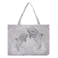 Beautiful Dolphin, Mandala Design Medium Tote Bag by FantasyWorld7