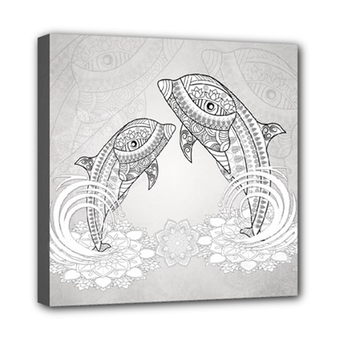 Beautiful Dolphin, Mandala Design Mini Canvas 8  X 8  by FantasyWorld7
