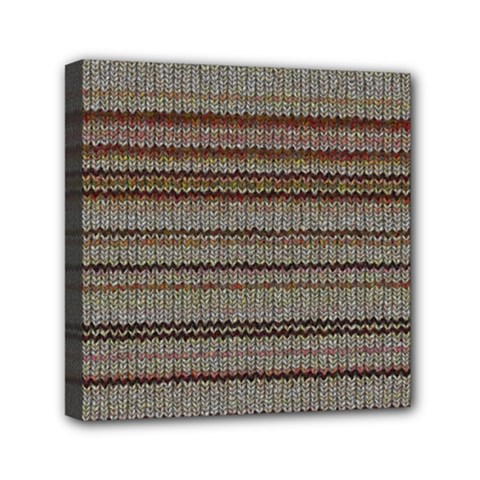 Stripy Knitted Wool Fabric Texture Mini Canvas 6  X 6