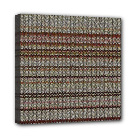 Stripy Knitted Wool Fabric Texture Mini Canvas 8  X 8  by BangZart