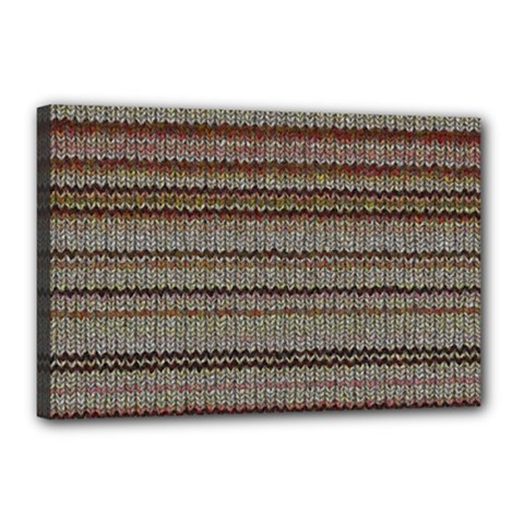 Stripy Knitted Wool Fabric Texture Canvas 18  X 12