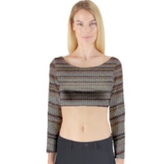 Stripy Knitted Wool Fabric Texture Long Sleeve Crop Top