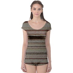 Stripy Knitted Wool Fabric Texture Boyleg Leotard  by BangZart