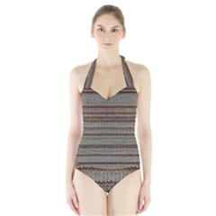 Stripy Knitted Wool Fabric Texture Halter Swimsuit