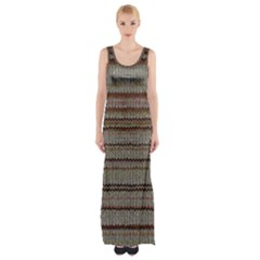 Stripy Knitted Wool Fabric Texture Maxi Thigh Split Dress by BangZart