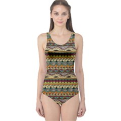 Aztec Pattern One Piece Swimsuit