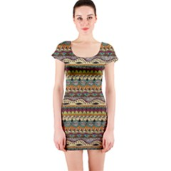 Aztec Pattern Short Sleeve Bodycon Dress