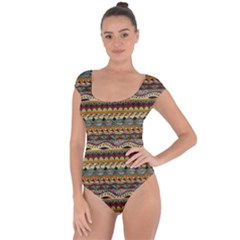 Aztec Pattern Short Sleeve Leotard  by BangZart