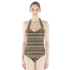 Aztec Pattern Halter Swimsuit by BangZart