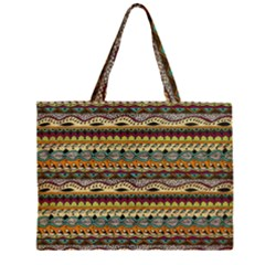 Aztec Pattern Zipper Large Tote Bag