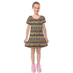 Aztec Pattern Kids  Short Sleeve Velvet Dress by BangZart