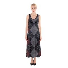 Wool Texture With Great Pattern Sleeveless Maxi Dress